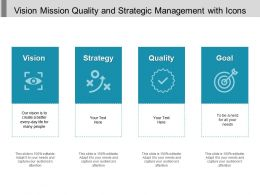 Vision Mission Quality And Strategic Management With Icons