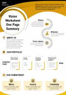 Vision Worksheet One Page Summary Presentation Report Infographic PPT PDF Document