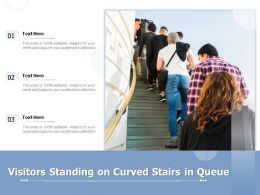 Visitors Standing On Curved Stairs In Queue