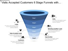 Visits Accepted Customers 6 Stage Funnels With Icons