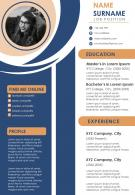 Visual CV Design Template With Educational Details And Work Experience