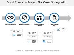 Visual Exploration Analysis Blue Ocean Strategy With Horizontal Arrow And Circles