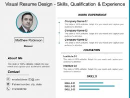 Visual Resume Design Skills Qualification And Experience