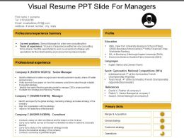 Visual Resume Ppt Slide For Managers