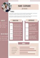 Visual Resume Template CV Design With Experience And Skills