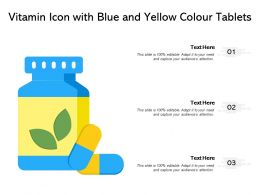 Vitamin Icon With Blue And Yellow Colour Tablets