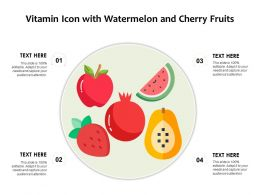 Vitamin Icon With Watermelon And Cherry Fruits