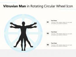 Vitruvian Man In Rotating Circular Wheel Icon
