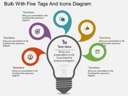 vj Bulb With Five Tags And Icons Diagram Flat Powerpoint Design