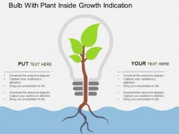 vk Bulb With Plant Inside Growth Indication Flat Powerpoint Design