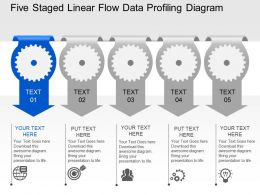 Vk Five Staged Linear Flow Data Profiling Diagram Powerpoint Template