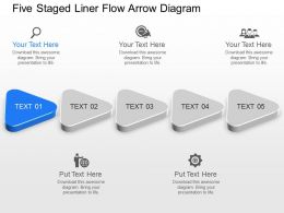 Vl Five Staged Liner Flow Arrow Diagram Powerpoint Template