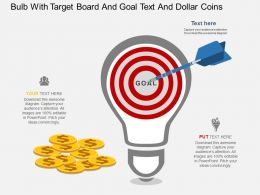 vm Bulb With Target Board And Goal Text And Dollar Coins Flat Powerpoint Design