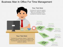 vn Business Man In Office For Time Management Flat Powerpoint Design