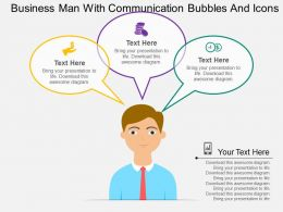 vo Business Man With Communication Bubbles And Icons Flat Powerpoint Design