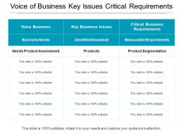 Voice Of Business Key Issues Critical Requirements