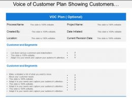 Voice Of Customer Plan Showing Customers And Segments