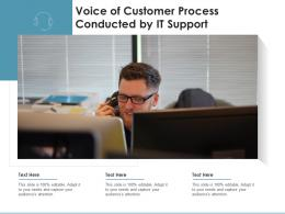 Voice Of Customer Process Conducted By It Support