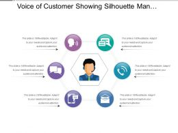 Voice Of Customer Showing Silhouette Man With Mic And 6 Options