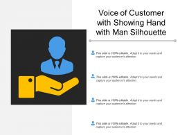 Voice Of Customer With Showing Hand With Man Silhouette