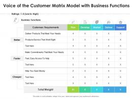 Voice Of The Customer Matrix Model With Business Functions
