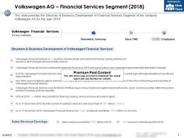 Volkswagen Ag Financial Services Segment 2018