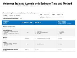 Volunteer Training Agenda With Estimate Time And Method