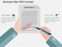 vp Business Man With Contract Flat Powerpoint Design