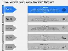 Vp Five Vertical Text Boxes Workflow Diagram Powerpoint Template
