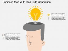 vq Business Man With Idea Bulb Generation Flat Powerpoint Design
