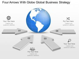 Vq Four Arrows With Globe Global Business Strategy Powerpoint Template