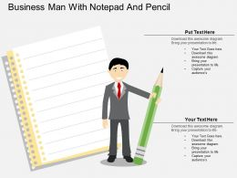 vr Business Man With Notepad And Pencil Flat Powerpoint Design