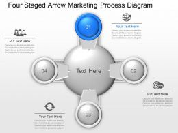 Vr Four Staged Arrow Marketing Process Diagram Powerpoint Template