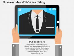 vs Business Man With Video Calling Flat Powerpoint Design