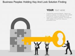 vu Business Peoples Holding Key And Lock Solution Finding Flat Powerpoint Design
