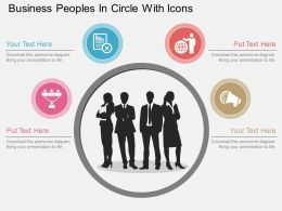 vv Business Peoples In Circle With Icons Flat Powerpoint Design
