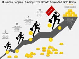 wa Business Peoples Running Over Growth Arrow And Gold Coins Flat Powerpoint Design