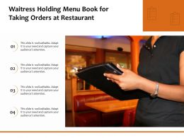 Waitress Holding Menu Book For Taking Orders At Restaurant