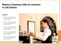 Waitress Preparing Coffee For Customer In Cafe Kitchen