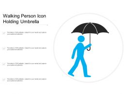 Walking Person Icon Holding Umbrella