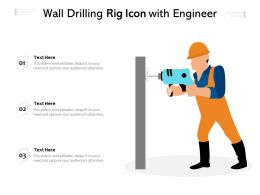 Wall Drilling Rig Icon With Engineer