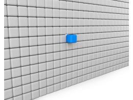 Wall Made Of White Cubes With A Blue Cube As Leader Stock Photo