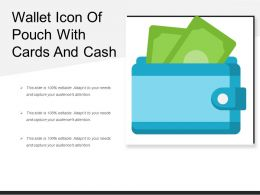 Wallet Icon Of Pouch With Cards And Cash