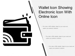 Wallet Icon Showing Electronic Icon With Online Icon