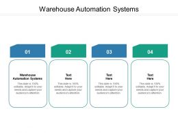 Warehouse Automation Systems Ppt Powerpoint Presentation Inspiration Ideas Cpb