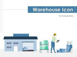 Warehouse Icon Document Depicting Managing Logistics Security