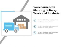 Warehouse Icon Showing Delivery Truck And Products