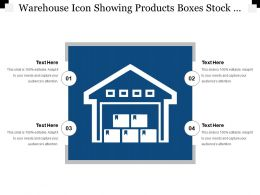 Warehouse Icon Showing Products Boxes Stock Layout