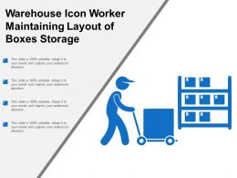 Warehouse Icon Worker Maintaining Layout Of Boxes Storage