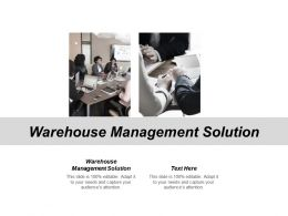 Warehouse Management Solution Ppt Powerpoint Presentation Gallery Graphic Cpb